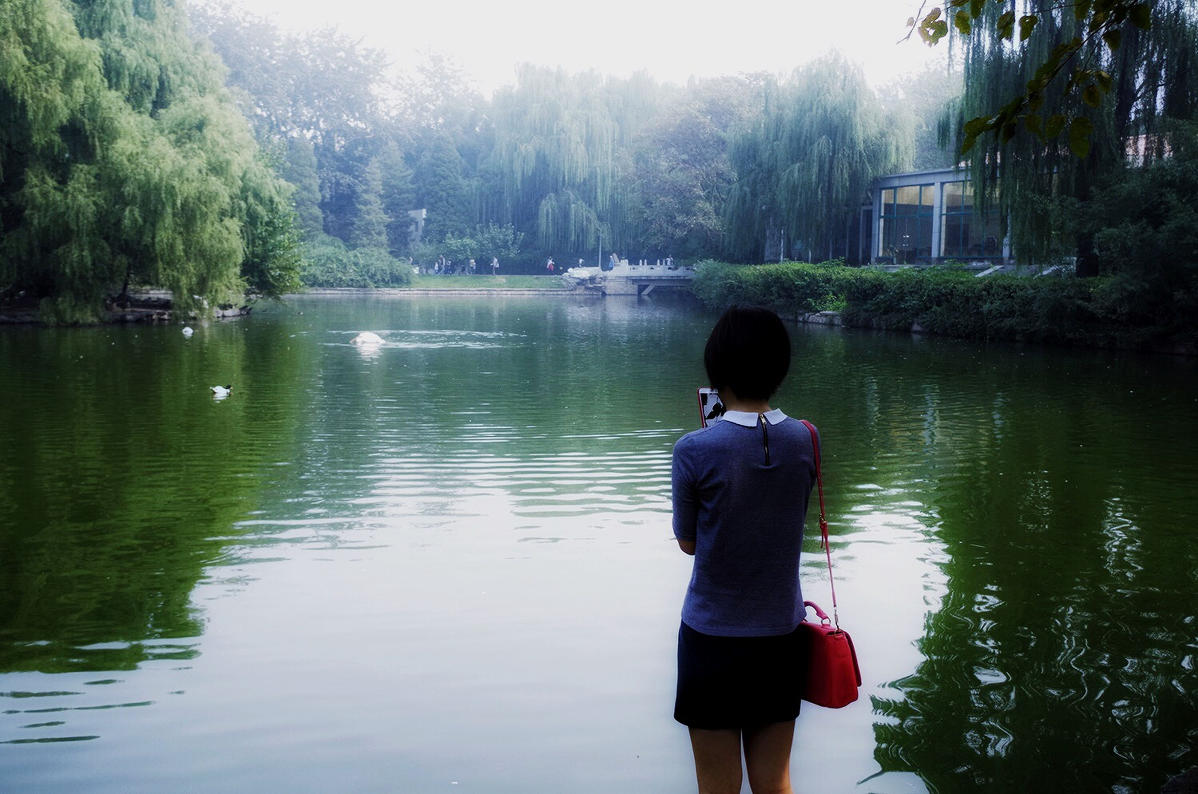 water, tree, rear view, lifestyles, leisure activity, lake, casual clothing, standing, three quarter length, tranquility, nature, tranquil scene, full length, river, beauty in nature, scenics, men, person