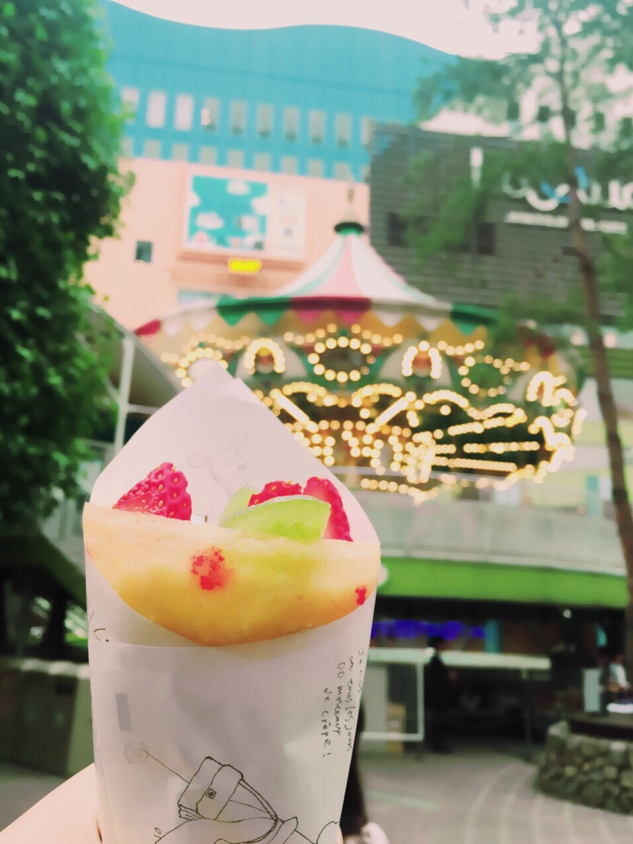 Crepe Food Sweets Strawberry Kiwi Red Yellowgreen Merrygoround Tokyo LaQua Dericious Tree Korakuen