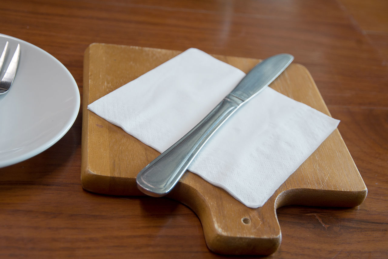 table, wood - material, indoors, no people, food and drink, high angle view, close-up, fork, food, freshness, day