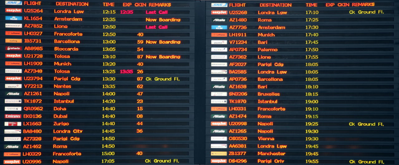 Flight board in Venice airport, on November 22, 2014 in Venice, Italy. Aircraft Airline Airport Arrival Aviation Billboard Boarding Departing Departure Destination Digital Board Display Flight Information Gate List Monitor Plane Schedule Screen Table Terminal Timetable Venice, Italy