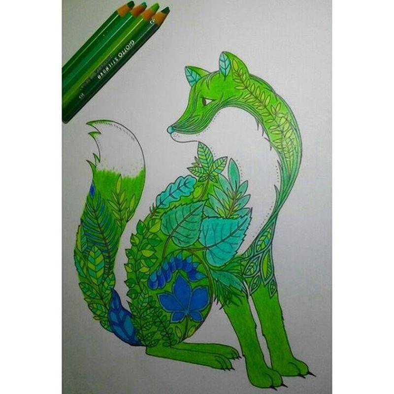 ColourZen Puz Finished 💕(ฅ>ω<*ฅ) Draw Green Paint Colour Green Instamoment Art Fox GreenFox Nature Foxy Cute Cuteness KAWAII Kawainess Doodle Animal Colourfull Pencils Goodnight Nighty Boanoite Oyasumi OtakuGirl LoveIt ❤ 🐺