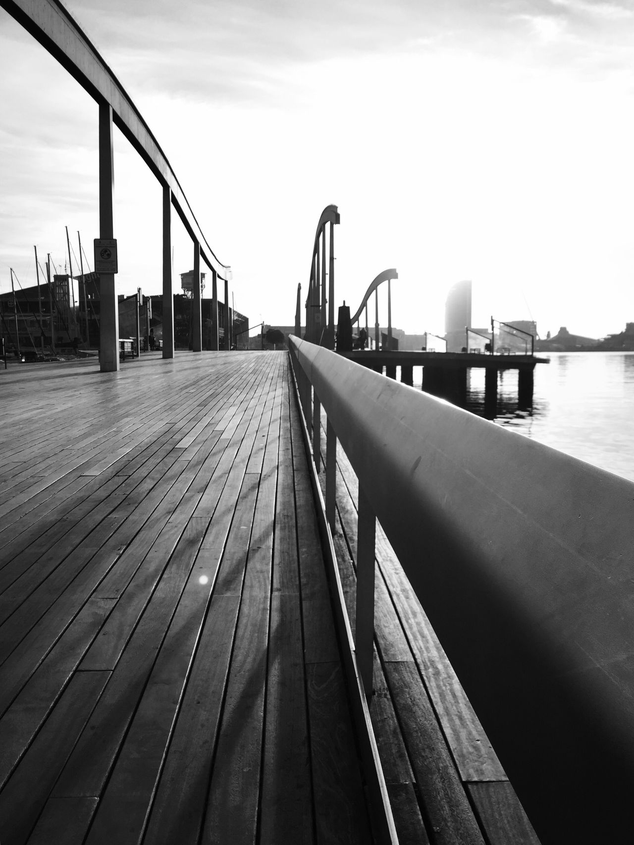 From My Point Of View Bnw_collection Boardwalk Railing Outdoors Sky Day Built Structure No People Water Architecture Streetphotography EyeEm Gallery Bnw_captures Barcelona Blackandwhite Blackandwhite Photography