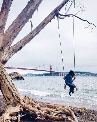 Hidden Gems  One of San Francisco's best kept secrets is this hidden gem of a swing, which gives, in my opinion, the best view of the iconic Golden Gate Bridge. I love this spot in particular because the adventure of getting there is half the fun. And once you do manage to find your way here and up onto the swing, I promise you won't want to get down 🌁 San Francisco Golden Gate Bridge Swing EyeEm Best Shots EyeEm Nature Lover Eye4photography  EyeEm Gallery EyeEmBestPics Check This Out Hello World Liveauthentic Artofvisuals Visualsoflife Explore Travel Adventure Eyeemphoto The Great Outdoors Be. Ready.