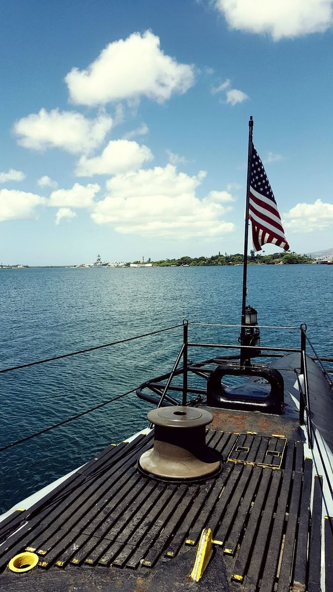 USS Bowfin at Pearl Harbor on Oahu, Hawaii American Flag displayed proud!