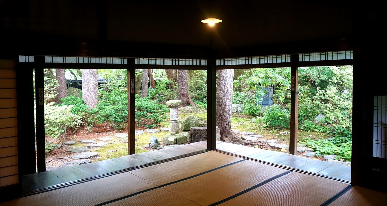 View from inside Japanese house into the garden. Empty Engawa Garden Japanese House Japanese Interiors No People Open Tatami