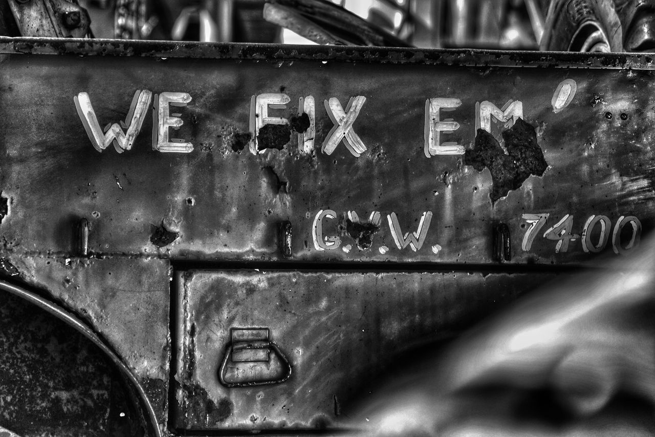 text, communication, metal, no people, close-up, day, outdoors