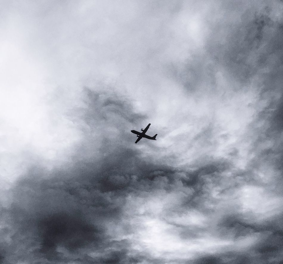 Just fly . Flying Sky Cloud - Sky Airplane Cloud Journey Transportation Travel Low Angle View No People Mode Of Transport Air Vehicle Day Outdoors Mid-air Fighter Plane Blackandwhite First Eyeem Photo