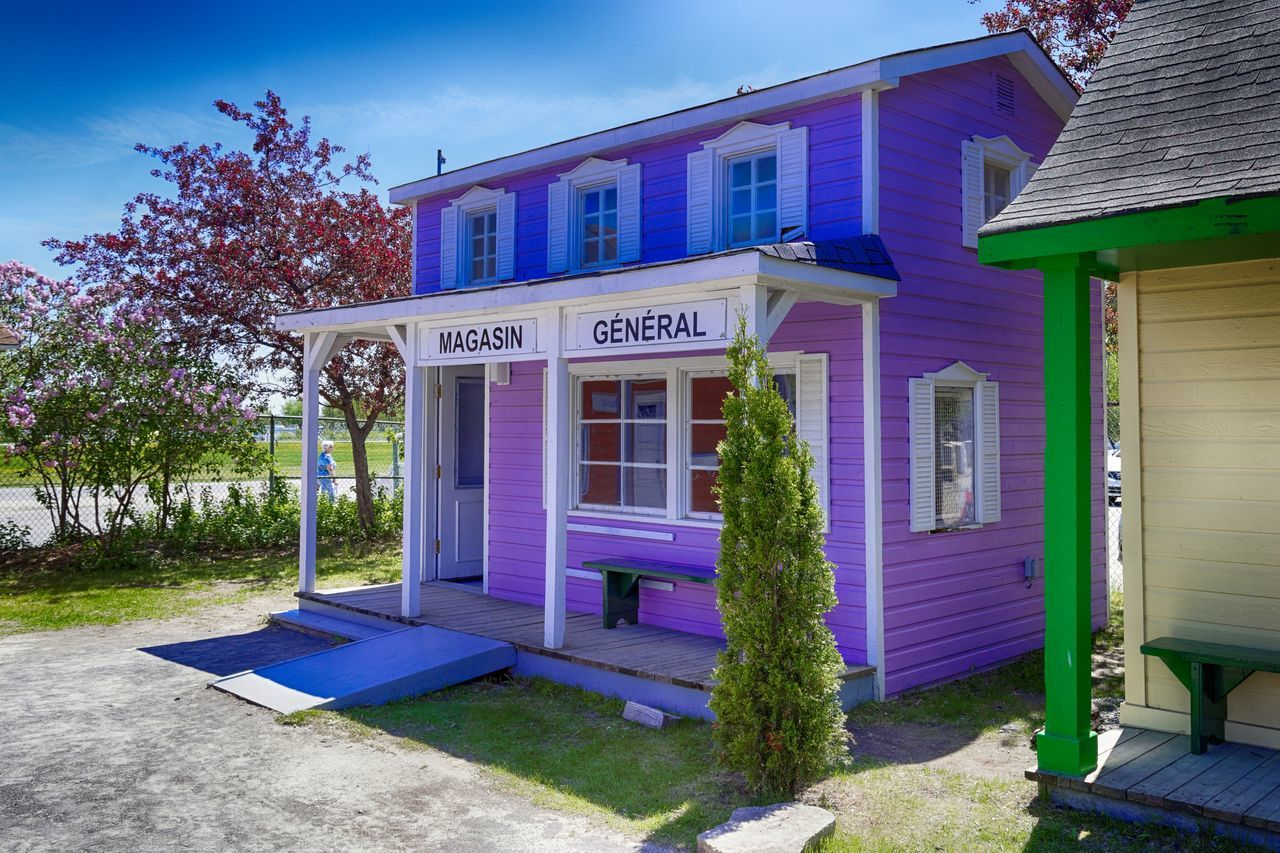 Architecture Blue Building Exterior Built Structure Canada Day General Store Houses Miniature Multicolor No People Outdoors Purple Sky The Architect - 2017 EyeEm Awards Tree