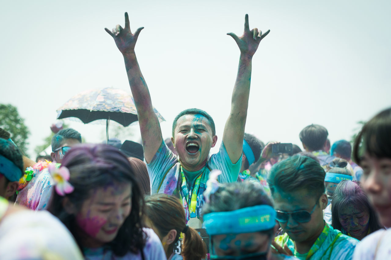 Chengdu, Sichuan province, China - July 2, 2016: Runners having fun at the Color Run China in Chengdu Chengdu China Chinese Color Run Fun Happy Leisure Activity Lifestyles Multi Colored Outside Party People Sichuan Sport Young