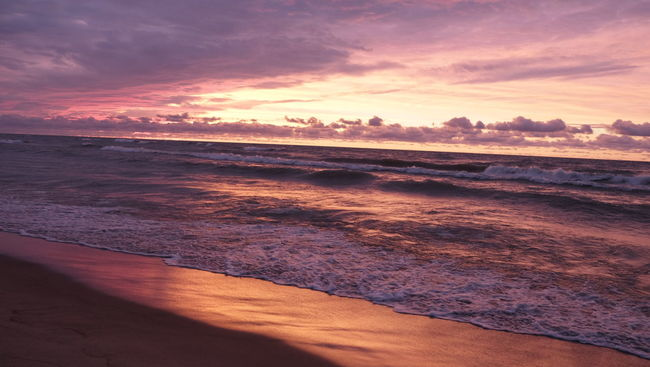 Autumn sunset. Romantic Getaway Sunset Water Waves Waves Crashing Beach Sand Michigan Lake Michigan