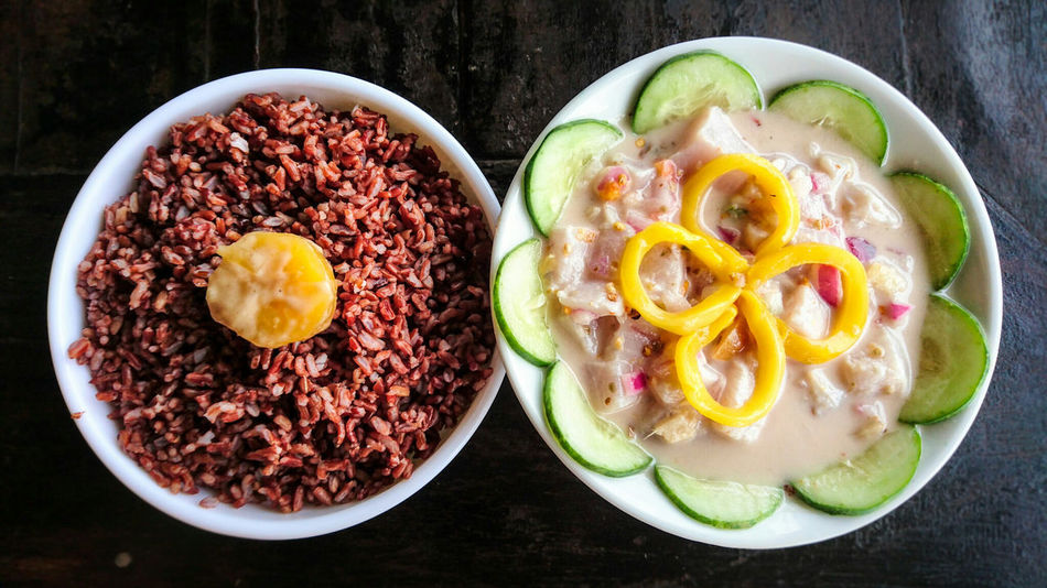 Kilawin tuna, a Filipino dish soaked in vinegar until cooked, with brown rice || Panglao, Bohol, Phillippines (July 2016) Colour Of Life Kilawin Tuna Filipino Dish Appetizer Panglao, Bohol Philippines Bohol Bee Farm It's More Fun In The Philippines Island Life Island Beach Beach Front Summer Travel Tourism Vacation Food Comfort Food Filipino Cuisine Local Fresh Island Hopping A Bird's Eye View