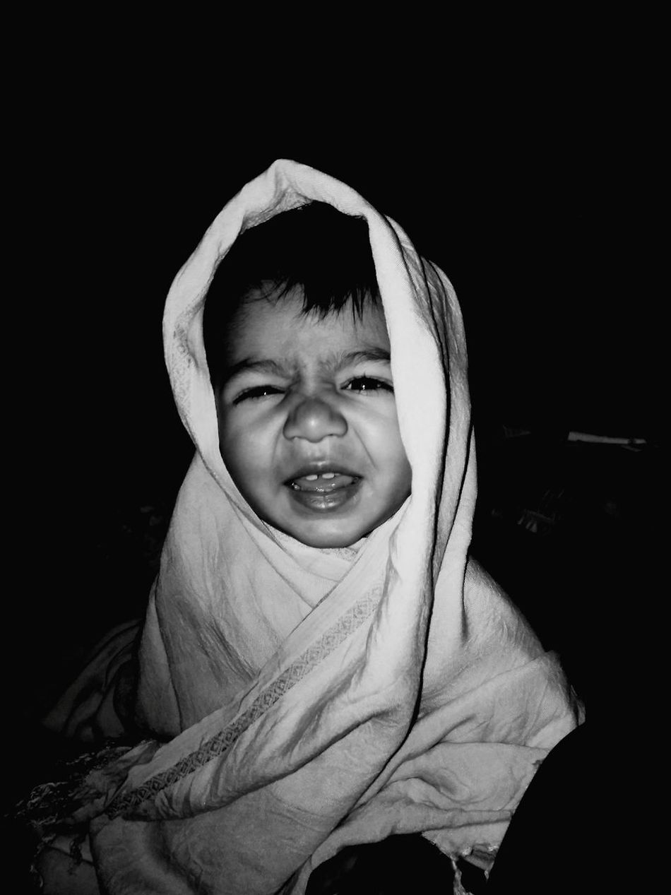 Childhood Child Hijab Looking At Camera Front View Elementary Age Portrait One Person Wrapped In A Blanket Real People Wrapped People Indoors  Night Close-up Human Body Part Innocent Smile EyeEmNewHere EyeEmNewHere EyeEmNewHere