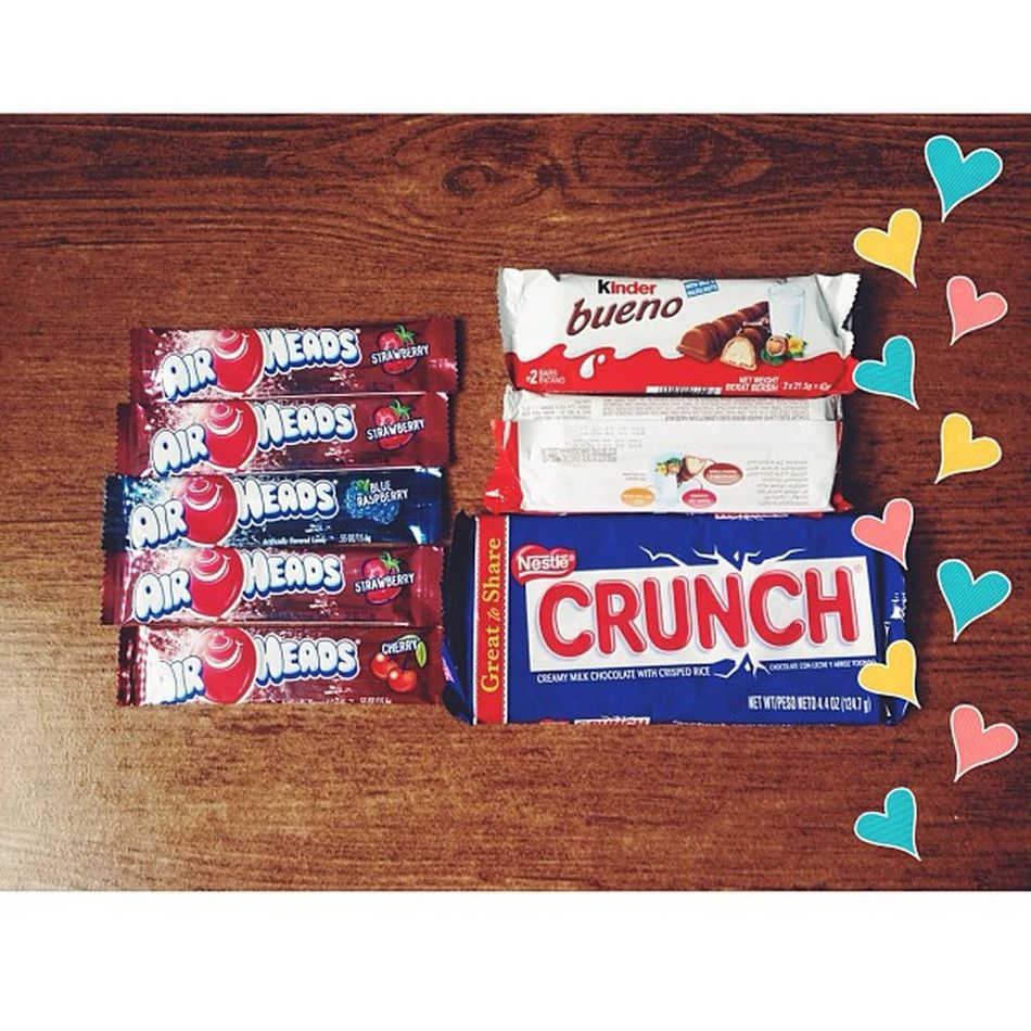 That guy who doesn't stop courting you until he's got you >>> Surprised with these!!!?? I wonder how did these get in my bag???Heehee. Thank you Babe. You are the sweetest! I wuv youuu. ? Thoselittlethings Airheads Kinderbueno  Crunch instapic instadaily goodies foodporn littlesurprises