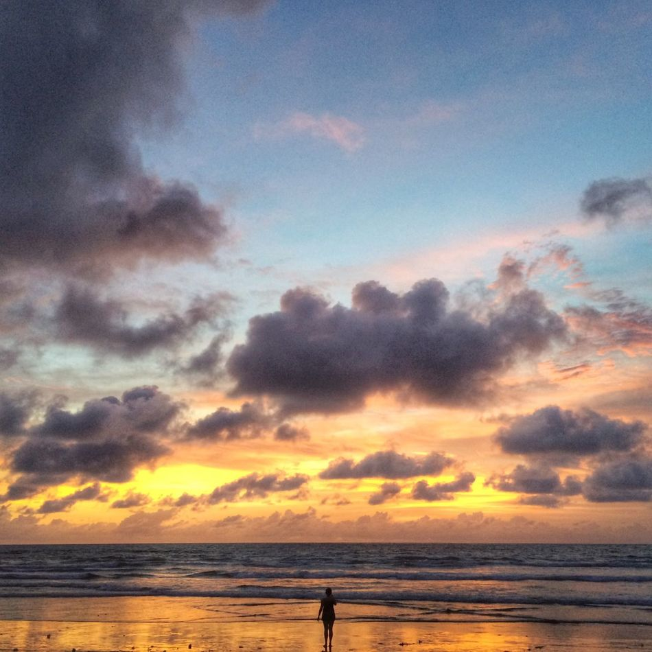 IPhoneography Clouds And Sky Silhouette Beach Sunset Silhouettes Travel People Beachphotography People Watching Bali