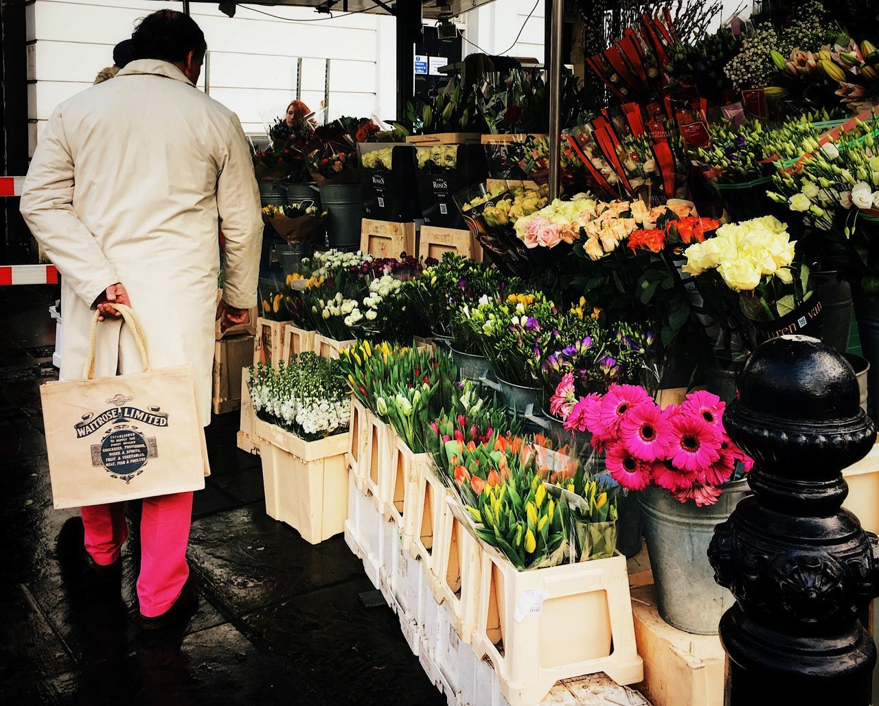 Matching colors Retail  Variation Choice Store Rear View Growth Flower Indoors  Men Freshness Day Nature Adults Only Adult People Pink Streetphotography Flower Stall Flower Vendor London London Streets Shop Commerce
