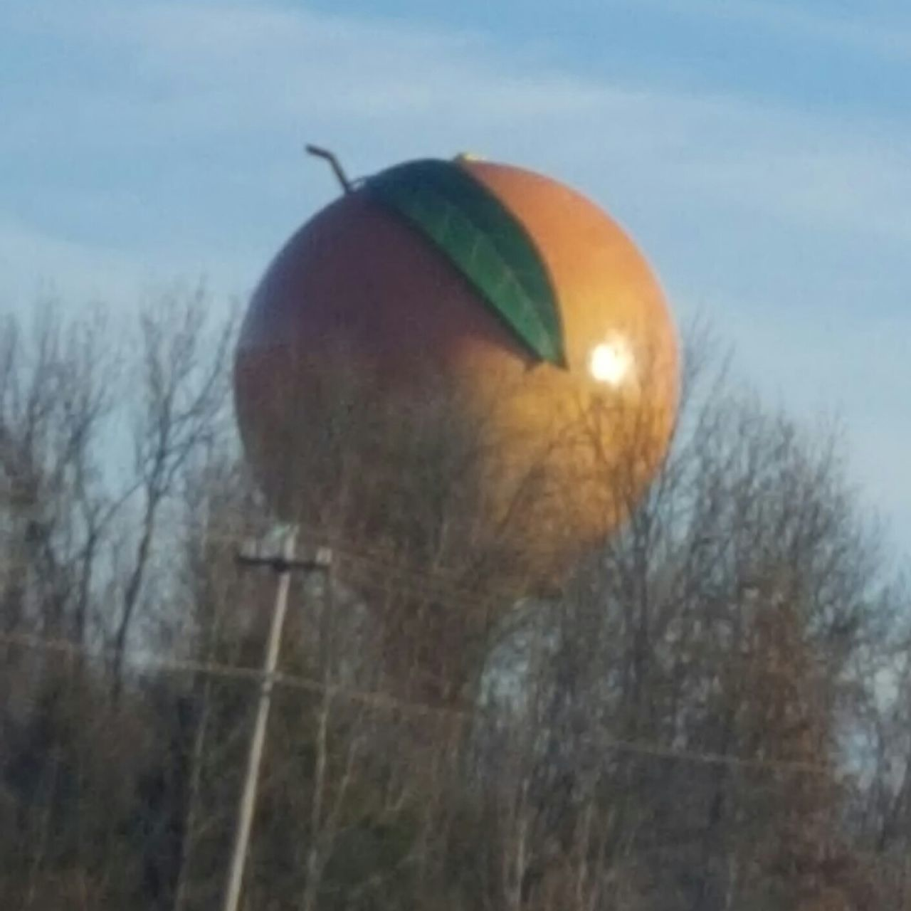 The Peachoid Outdoors One Person Close-up Nature Sky Day Ball Outdoor Photography Love My Life  Love Where You Live No People Peachoid Giant Peach Water Tower Gaffney South Carolina Day Trip