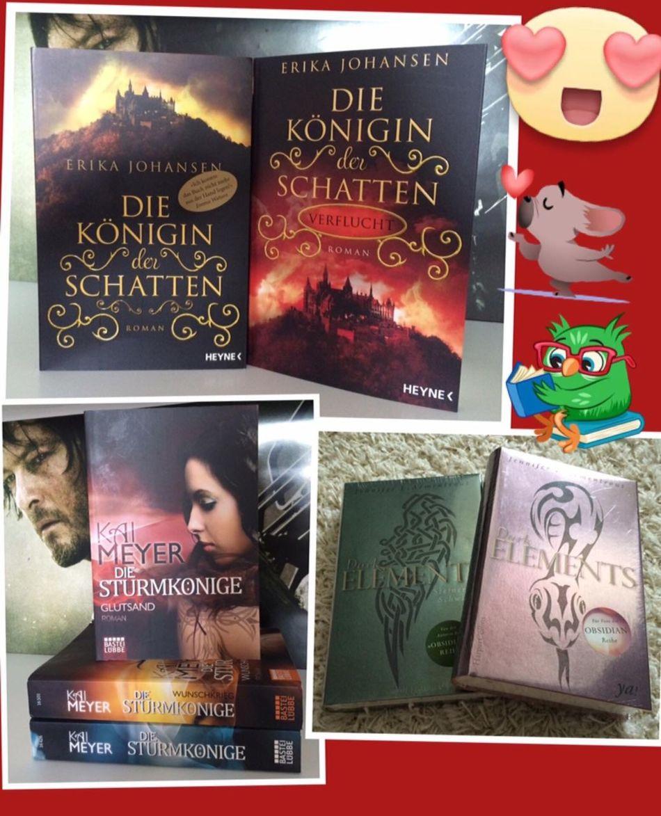neu eingezogen bei mir sind (danke an DHL & Hermes) •Die Königin der Schatten I+II • Gutsland (Teil III der Sturmkönige Trilogie) ...endlich vollständig❣ • Dark Elements II Eiskalte Sehnsucht #neuimRegal #ichliebeBücher #lesezeit #lesen #Books
