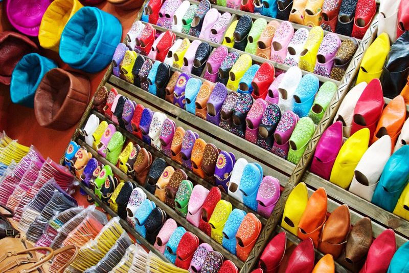 Shopping in Marakesh ColorPalette Morocco Tourism Traveling Marrakesh No People Shoes Bags Bagsgalore Travel Photography Photography IAmGSPhotography Colorful Colours Beautiful Check This Out Hidden Gems  Picoftheday Footwear