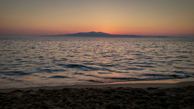 Sunset Sea Naxos Alykos Beach