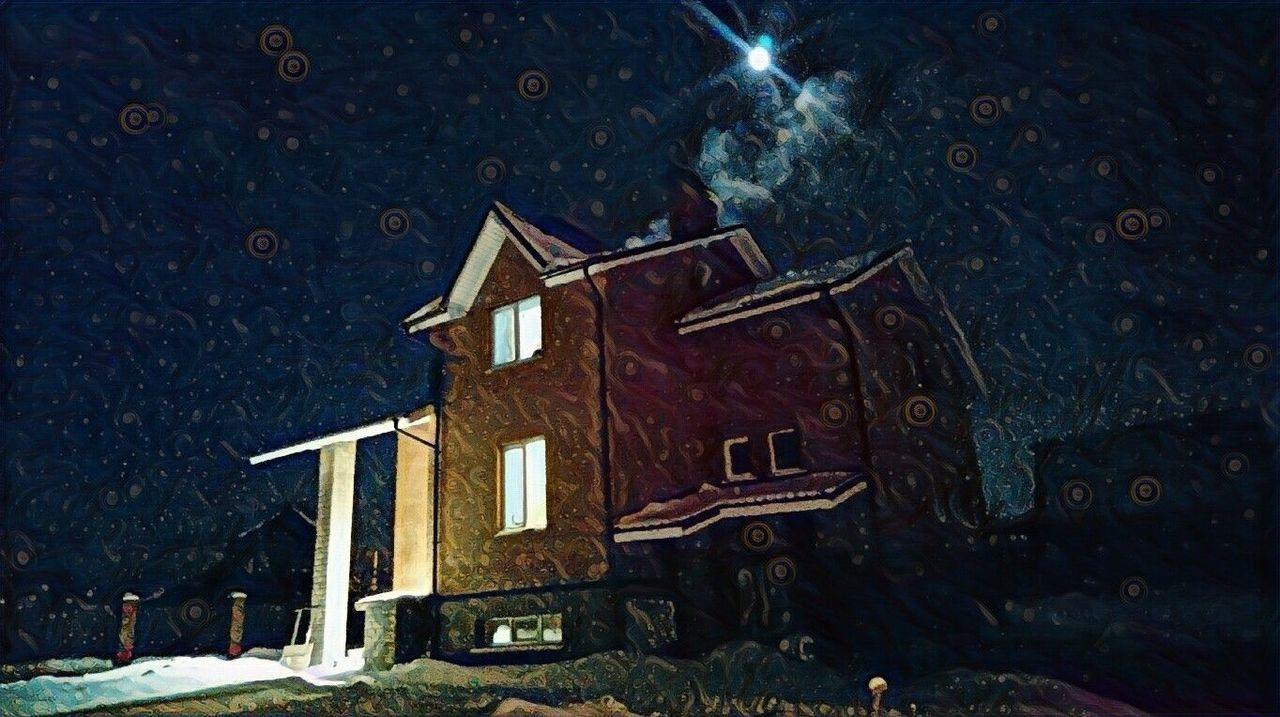 Night Architecture Winter Outdoors Astronomy No People снег❄ зима❄️ Winter Snow ❄ подмосковье Home дом коттедж сказка рождество Cristmas