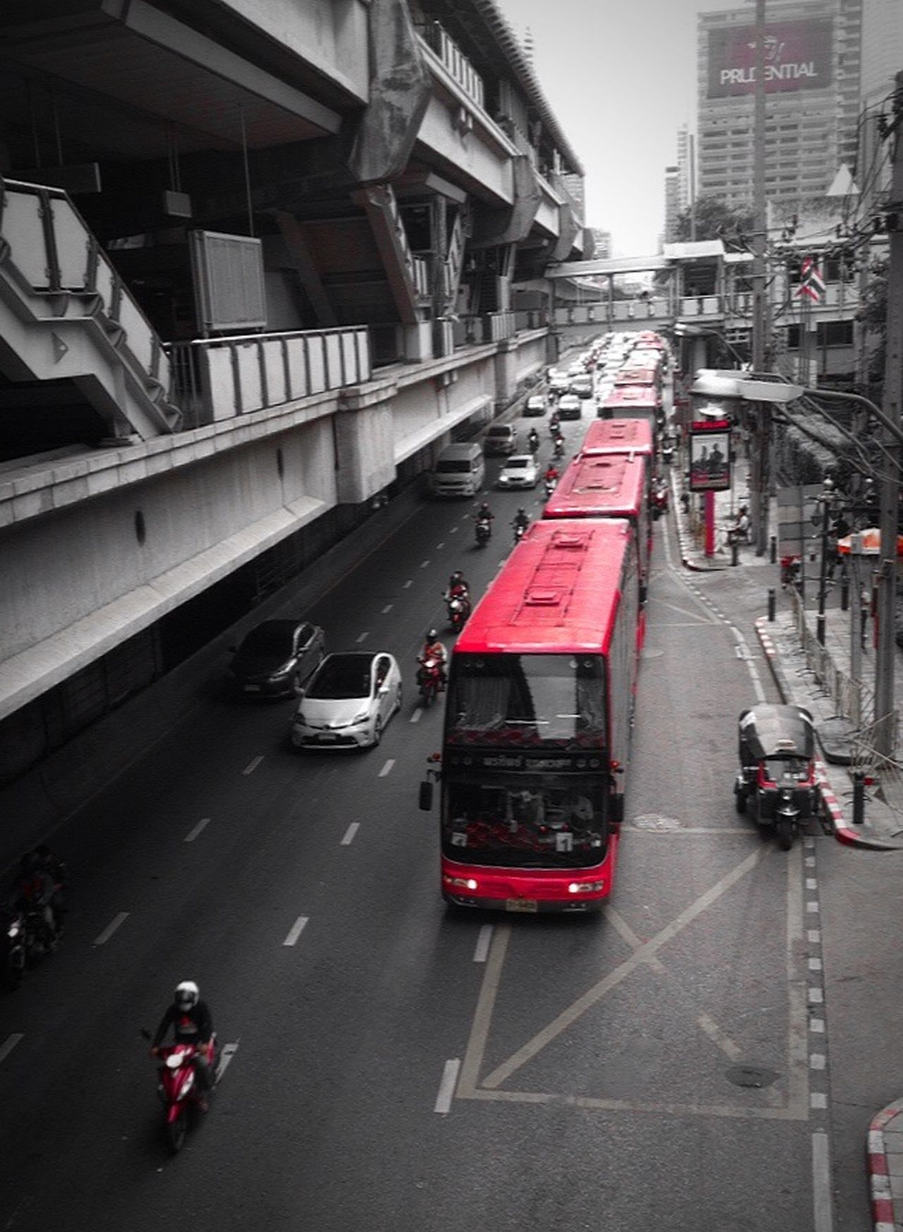Look alike a Bus Train, Is this the new transport trend? Look From Above Transportation Bus Traveling Convoy  Capture Moments Red Only