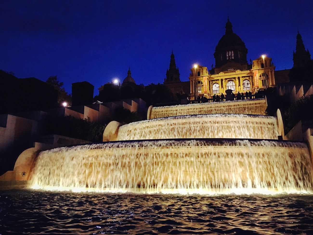Amazing waterfall fountain before the Museum in Barcelona. Urbanexploration Eye4photography  Showcase: November Nightphotography Fountain Water_collection Walking Around IPhoneography Fresh 3 Seeing The Sights Cities At Night
