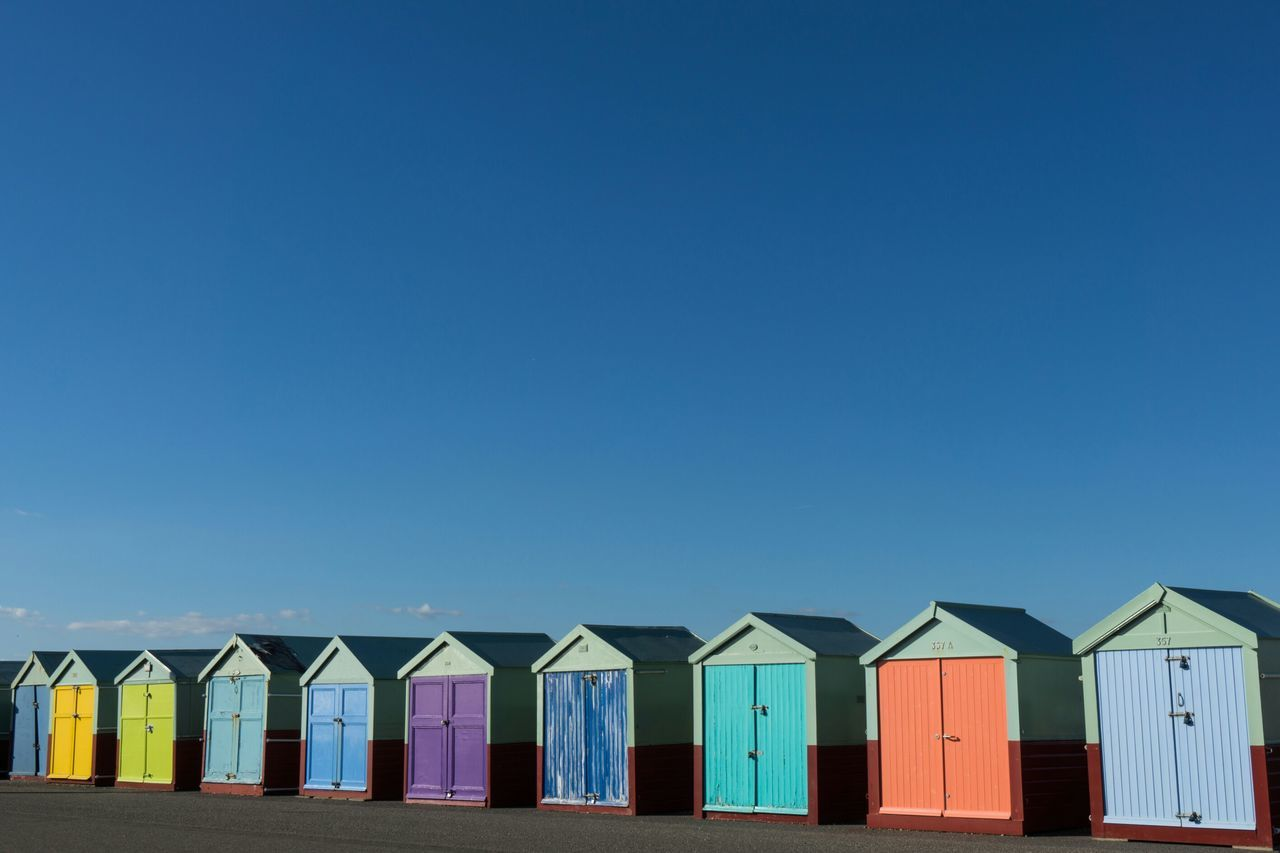 Beach huts one Beach Huts Seaside Blue Sky Colours Hut Beach