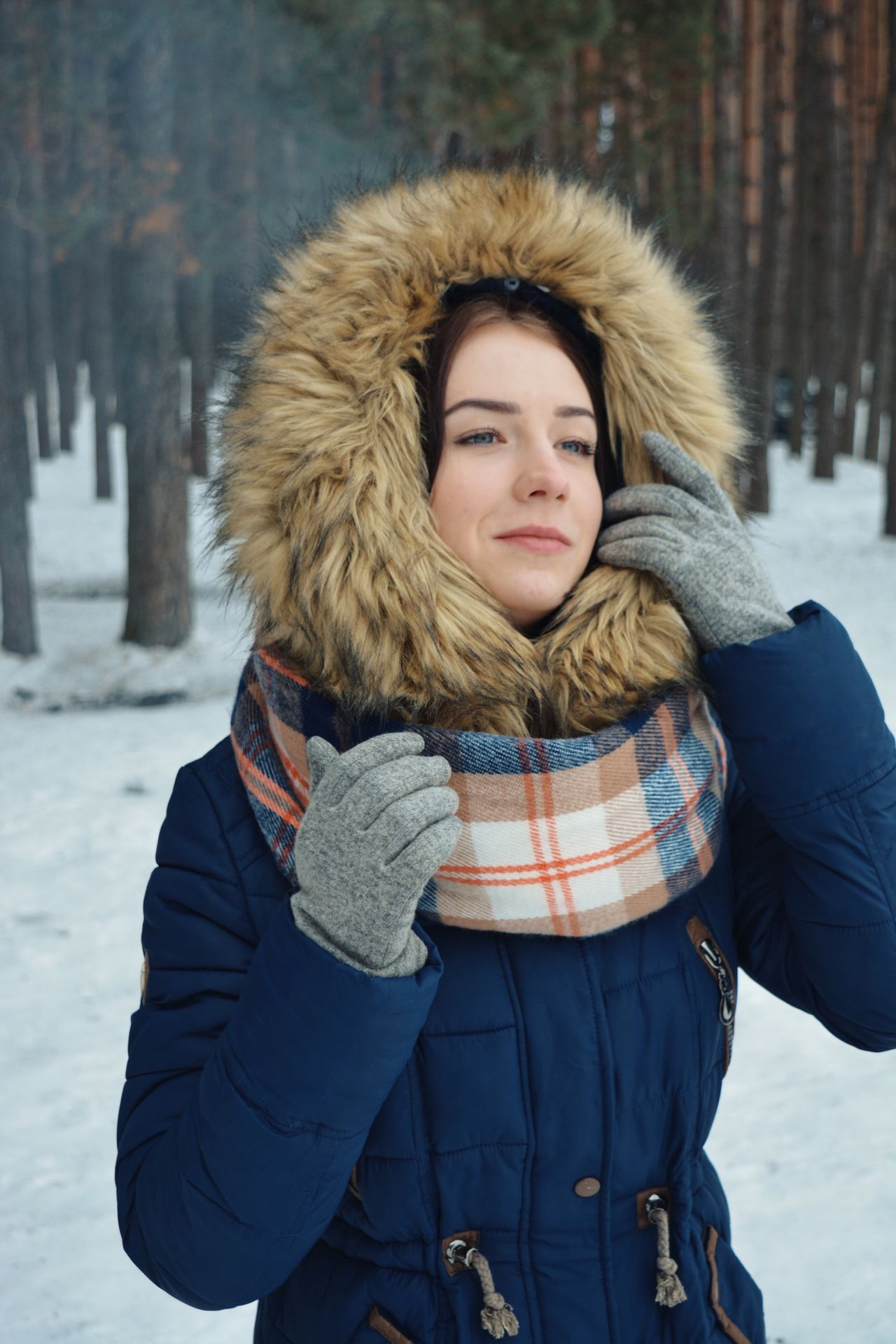 Outdoors winter potrait Winter Cold Temperature Snow Warm Clothing Looking At Camera Portrait Young Adult Long Hair Fur One Person Scarf Lifestyles Blond Hair Outdoors Fur Hat Young Women Leisure Activity Standing Nature Day