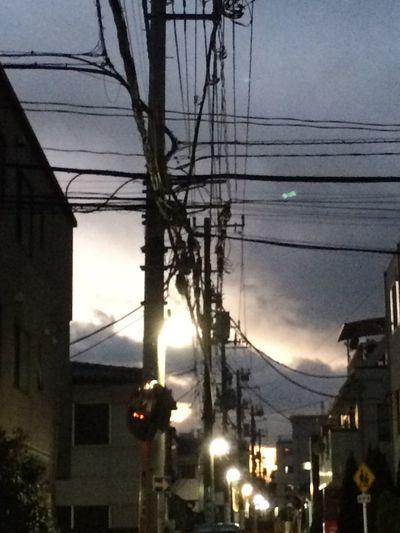 Sunset Cable Sky Cloud Street Electricline Dusk Evening Sky Evening