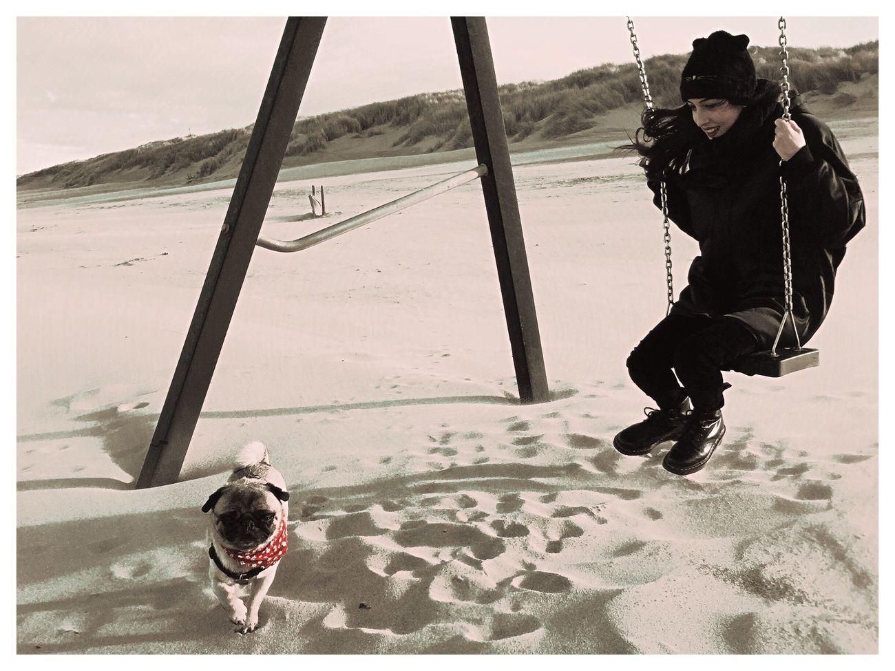 Lina Lolita Swinging Beachphotography Pug Wintertime