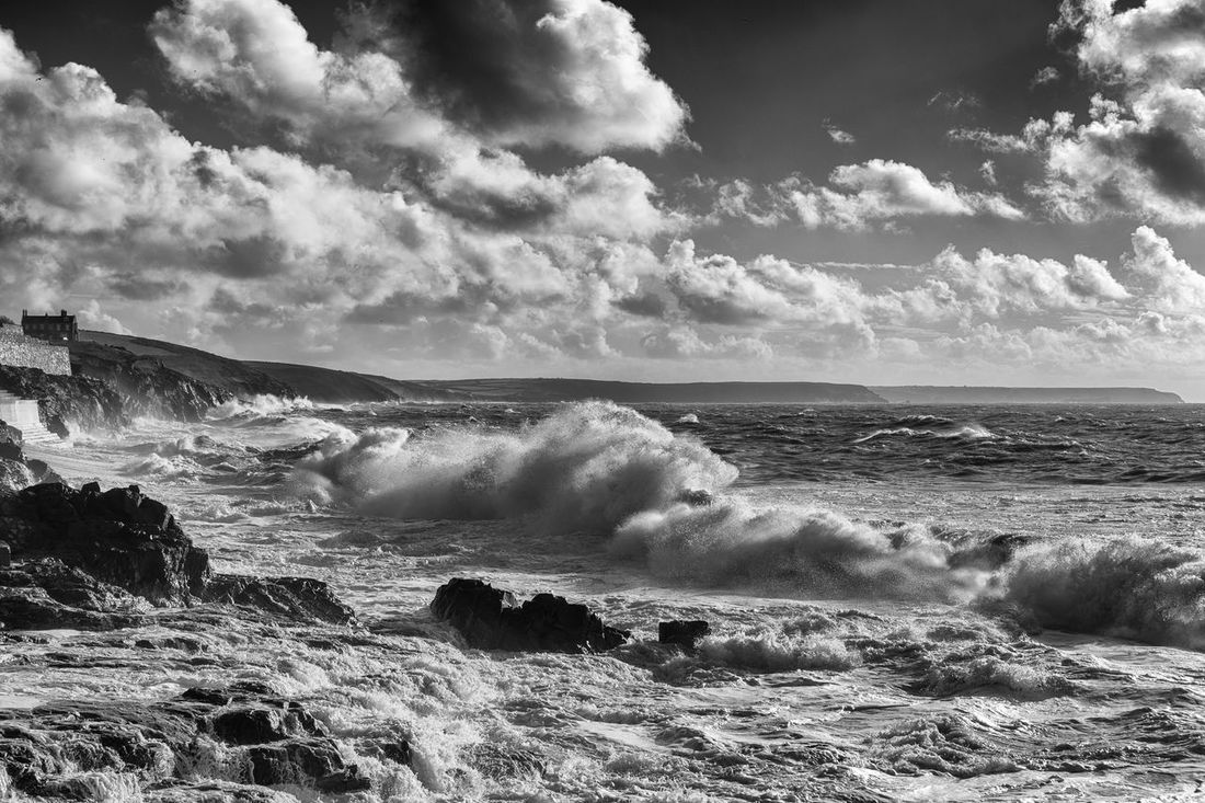 Beach Beauty In Nature Bigwaves Cloud - Sky Cornwall Day Horizon Over Water Nature No People Outdoors Porthleven Power In Nature Scenics Sea Sky Storm Water Wave