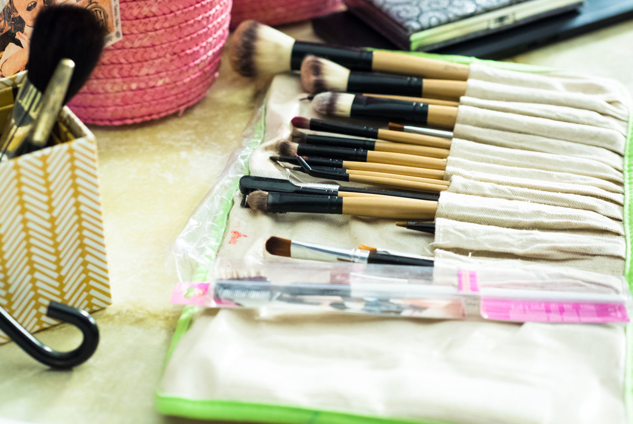 Beauty Brushes Choice Close-up Cosmetics Dress High Angle View Indoors  Makeup No People Table Variation