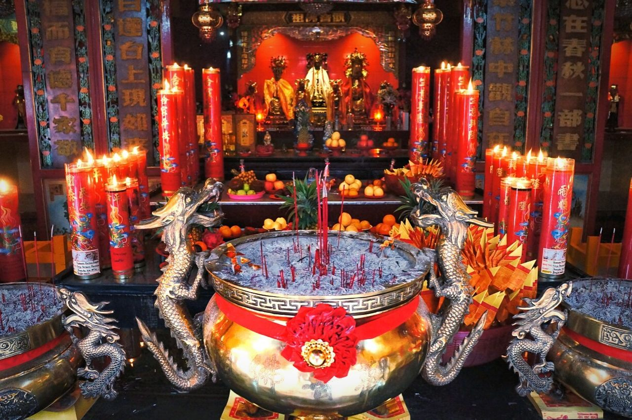 Religion Spirituality Indoors  Flame No People Burning Illuminated Chinnese Gongxifacai  Red Travel Destinations Eye4photography  EyeEm Gallery EyeEmNewHere at Banjarmasin INDONESIA