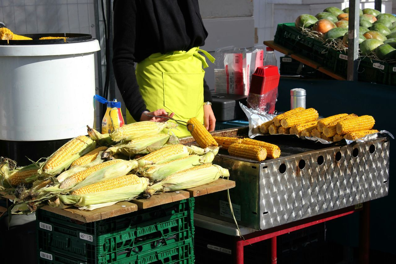 My World Of Food Sunny Events Foodmarket Streetphotography Foodporn Food Corn Autumn Colors Market Stall Autumn Roasted Corn Yellow Market Vendor Streetvendor Freshness Vegetables Streetfood