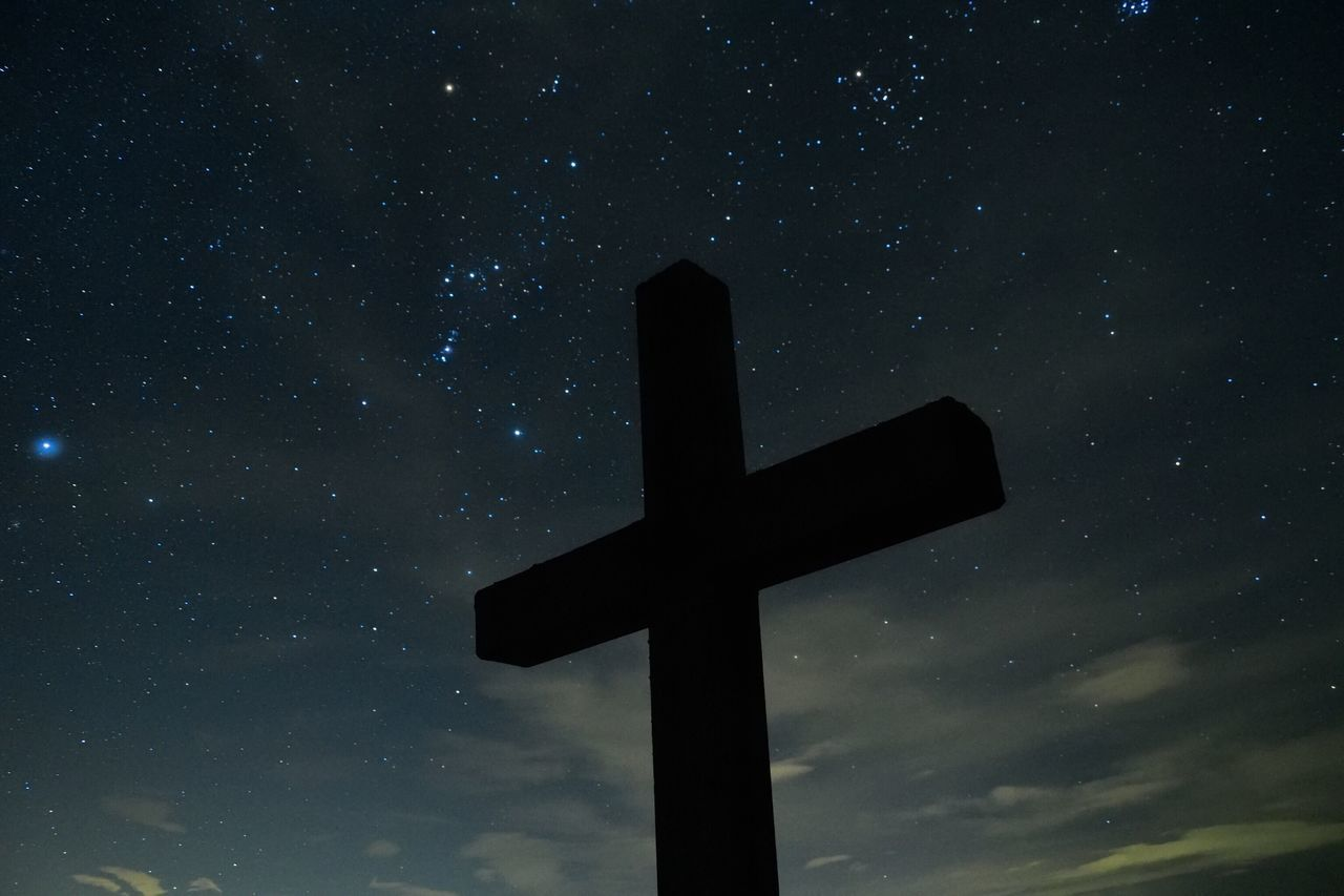 Cross Religion Spirituality Sky Star - Space No People Night Low Angle View Symbol Outdoors Nature Picoftheday Longtimeexposure Langzeitbelichtung Silhouette Cold Temperature Nikond3300 EyeEm Best Shots Nikonphotography EyeEm Nature Lover EyeEm