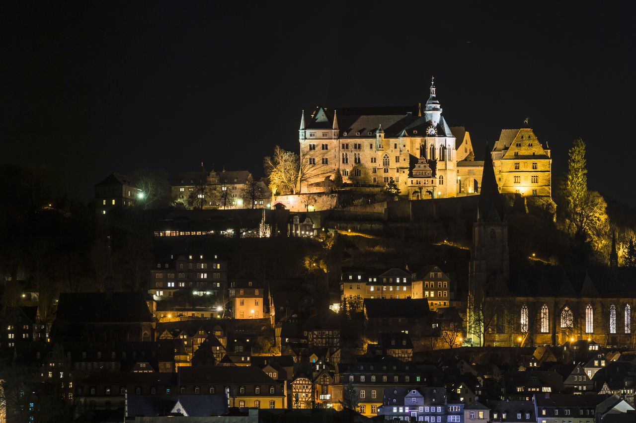Architecture Building Exterior Built Structure Castle City City Life Cityscape Famous Place History Illuminated Marburg An Der Lahn Marburg Castle Marburger Schloss Medieval Night No People Outdoors Residential Building Residential District Residential Structure Tourism Travel Destinations
