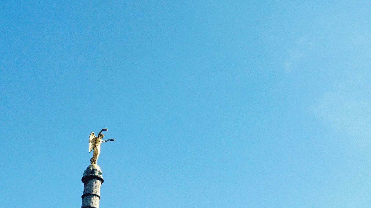 Negative Space Chatelet Paris Statue Gold Angel Sky Collection Column Blue Sky