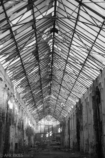 #architecture #halloween #hangar #warehouse Architecture Blackandwhite Built Structure Indoors  No People