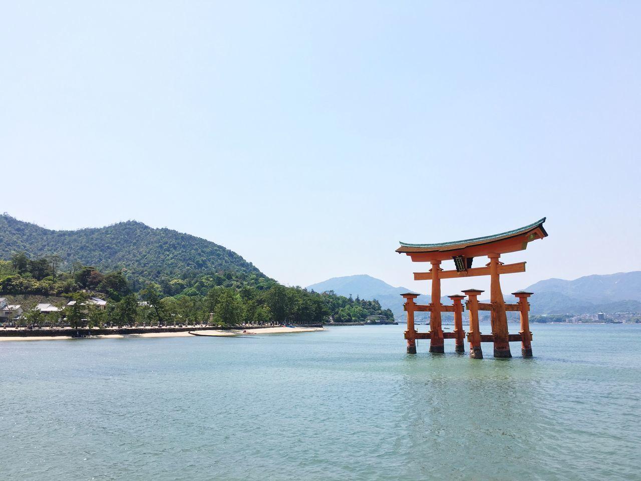 Water Built Structure Nature Architecture Beauty In Nature Tranquility Clear Sky Scenics Sea Day No People Travel Destinations Hiroshima Miyajima Torii Japanese Shrine Itsukushima Shrine Sea And Sky