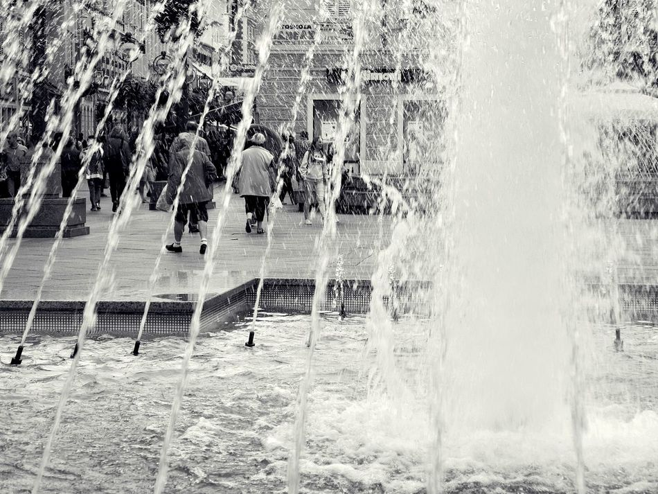Blackandwhite City City Life Day Fountain Outdoors People Water Water_collection Fountain_collection Citylife People In City Croatia Rijeka Adapted To The City The Week On EyeEm