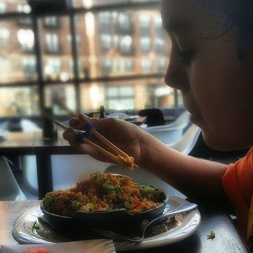 Lunch Daddytime Food Yummy Chickenandrice Kiddo Daddylove Chicken Rice Friedrice Chopsticks