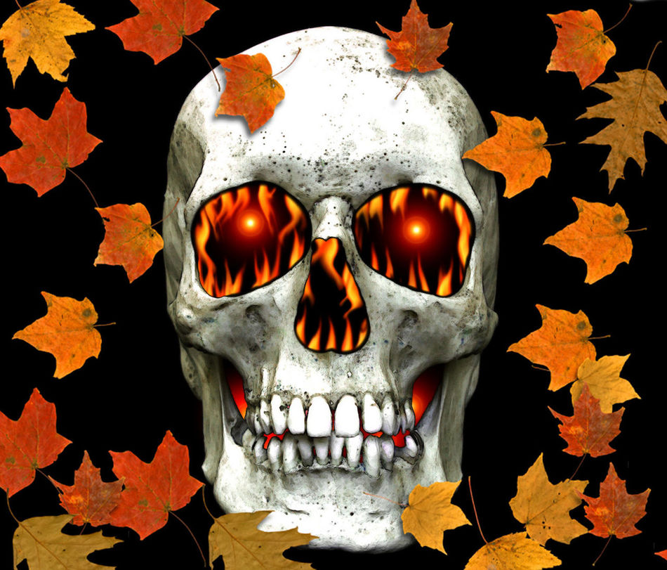 Skull Flames Leaves Human Skull Horror Human Body Part Inferno Autumn Edit Photoshop Photomanipulation Digital Art Close-up Leaves Flames Fire Burning Burn Falling Leaves Autumn Colors Halloween Freaky Night Black Background Flames & Fire On Fire Heat - Temperature Danger