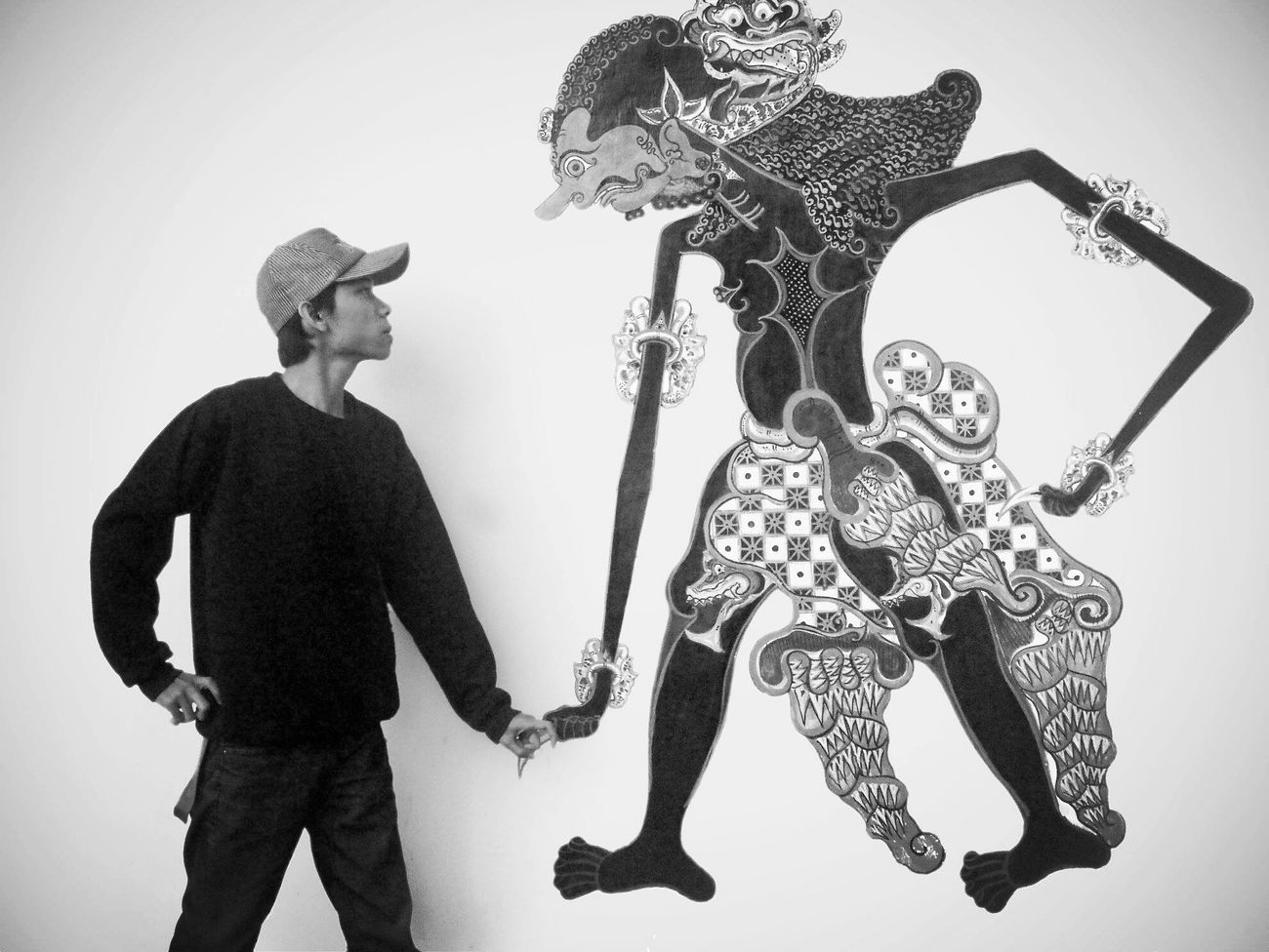 Versus Wayang Streetart Blackwhite Asian Culture Adapted To The City