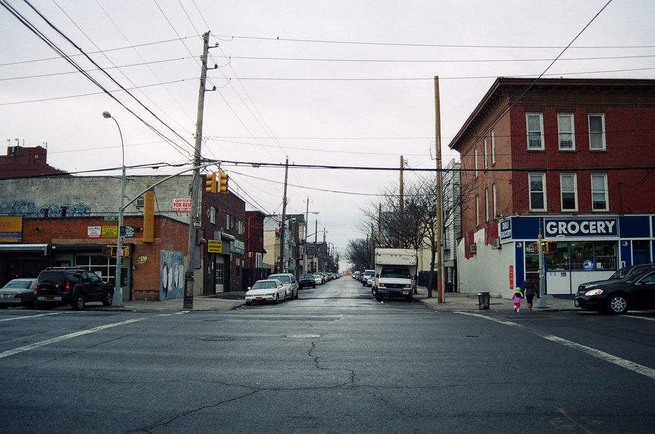 American Architecture Brooklyn Built Structure Cable City City Life City Street Film Photography Intersection Overcast Power Line  Rainy Days Road Road Sign Street Transportation USA Weather