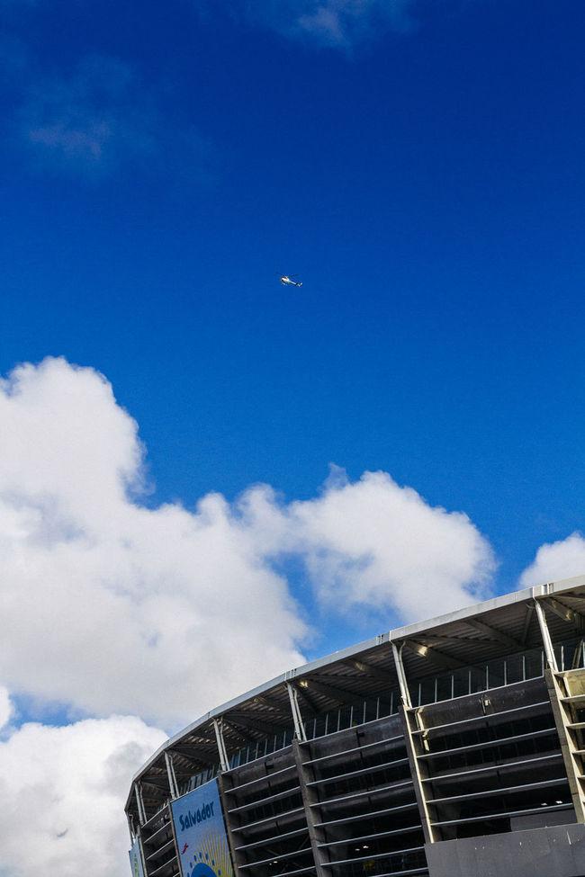 Bahia Brasil Brazil Cloud - Sky Dramatic Sky Exterior Fifa Stadium Low Angle View Outdoors Overcast Perspective Salvador Sky Soccer Stadium Worldcup 2014