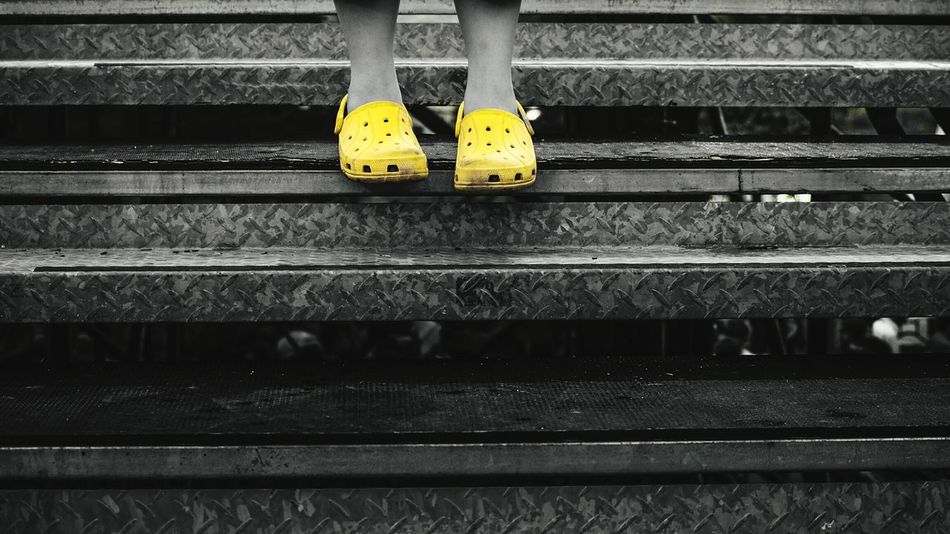 Legs Shoes Rubber Shoes Steps Metal Stairs Yellow Colorsplash Capturing Freedom Boy The Street Photographer - 2015 EyeEm Awards