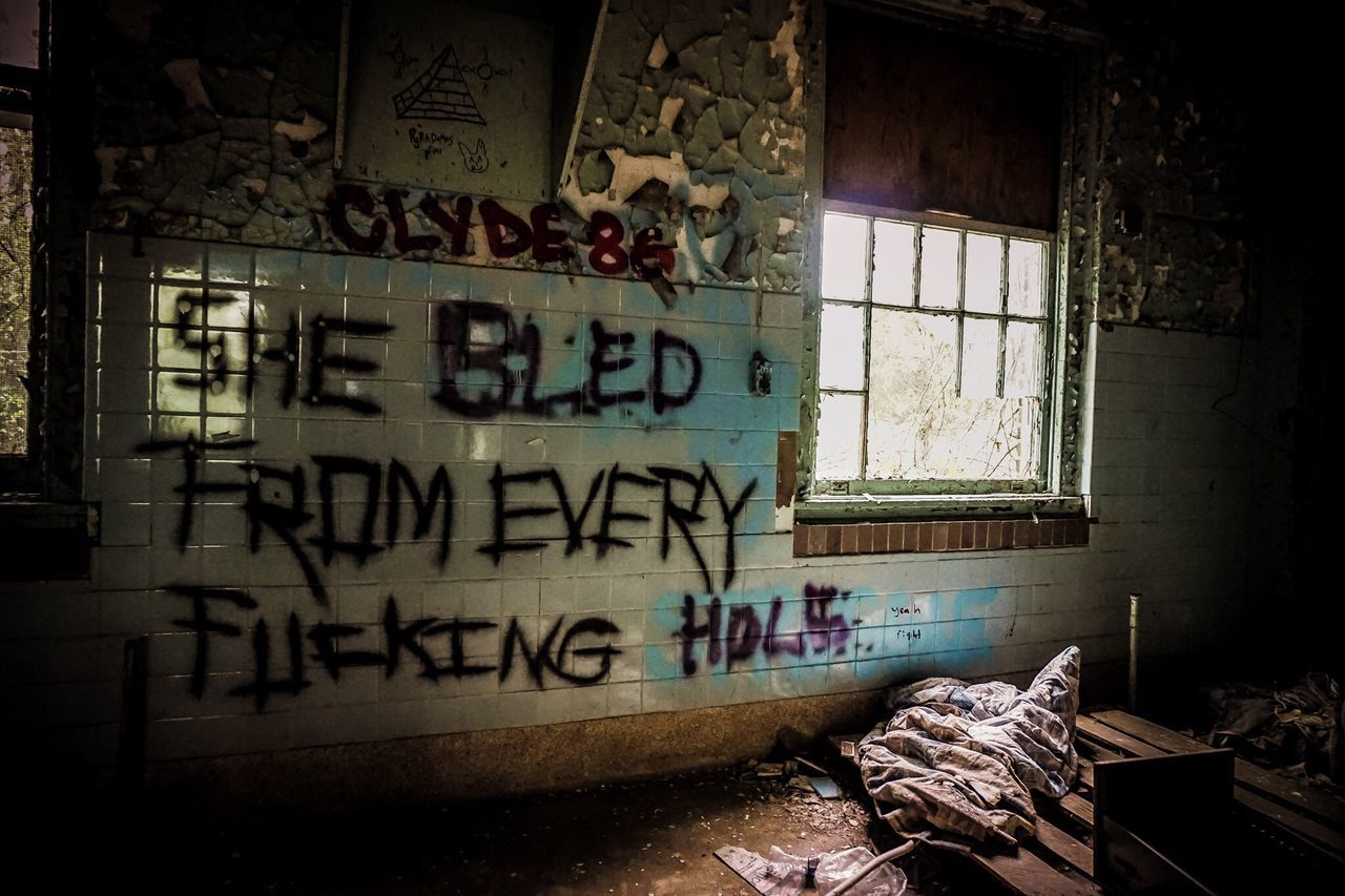text, abandoned, window, graffiti, damaged, architecture, run-down, no people, bad condition, built structure, indoors, destruction, day