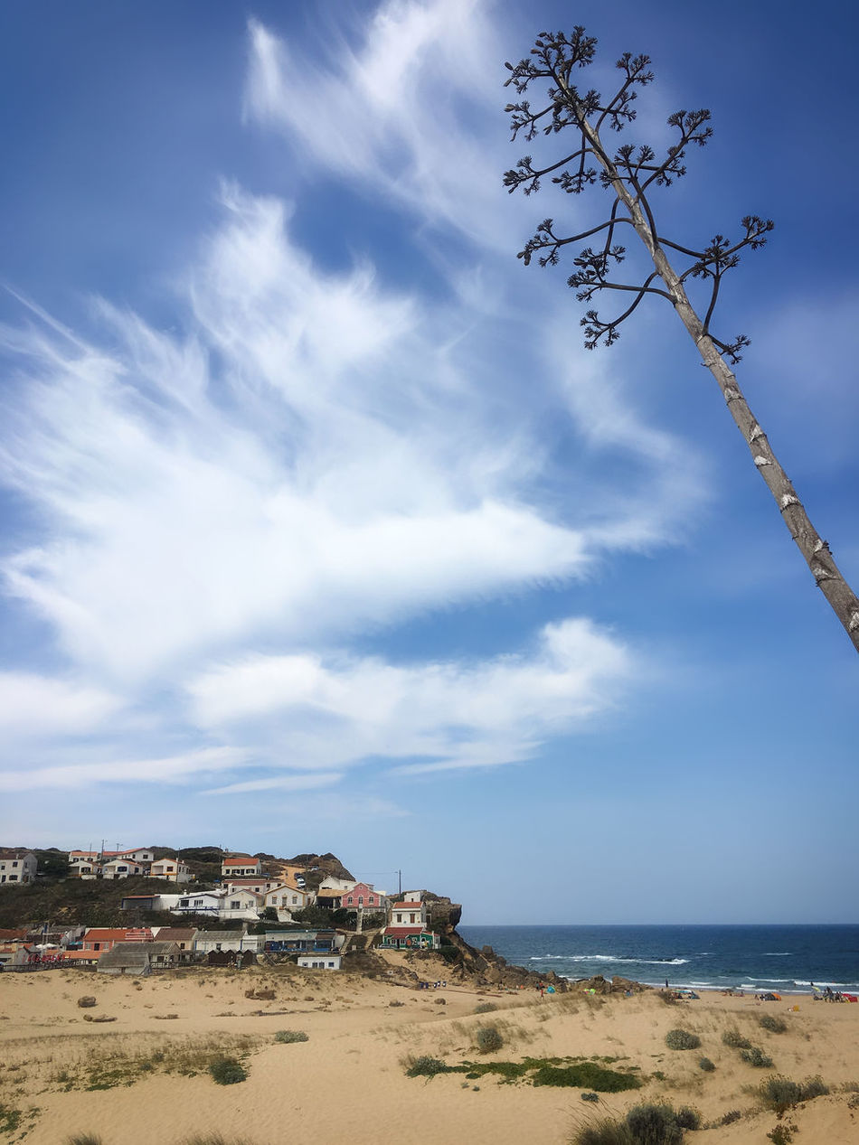 Stranddorf bei Aljezur, Portugal Algarve Aljezur Architecture Atlantic Ocean Beach Beauty In Nature City Cityscape Cloud - Sky Day Horizon Over Water Nature No People Outdoors Portugal Scenics Sea Sky Tranquility Travel Destinations Tree Urban Skyline Water