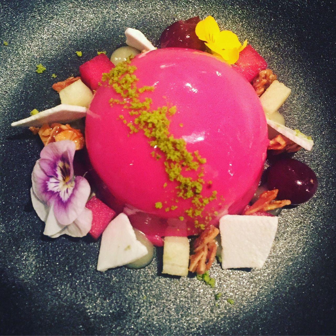 Fruity sorbet adorned with edible flowers Sweet Food Pink Color Food And Drink Food Ice Cream Dessert Dessert Porn Frozen Dessert