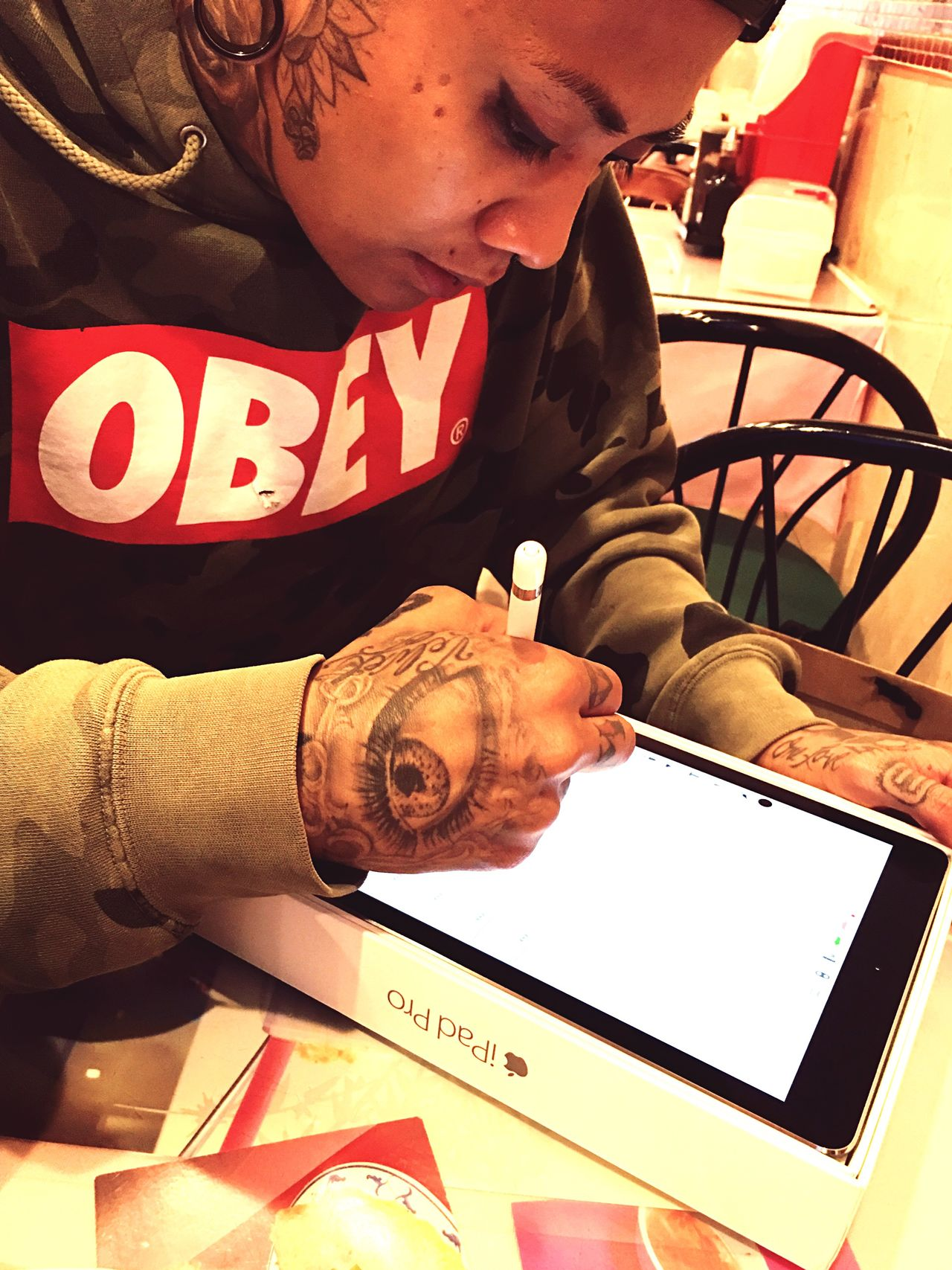 Young Adult Tattoos Ipad Chinatown New York City OBEY Apple Ipencil Person Style Swag Lgbt